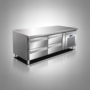 Husky Four Drawer Stainless Steel Low Level Counter Refrigerator