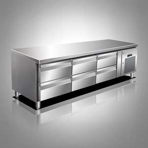 Husky Six Drawer Stainless Steel Low Level Counter Refrigerator