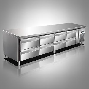 Husky Eight Drawer Stainless Steel Low Level Counter Refrigerator
