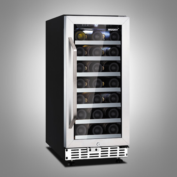 Husky 31 Bottle Stainless Steel Single Zone Compact Wine Cooler