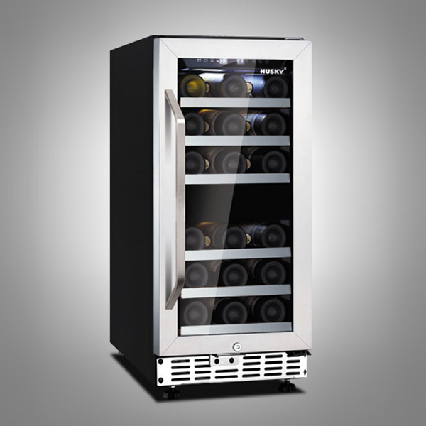 Husky 26 Bottle Stainless Steel Dual Zone Compact Wine Cooler